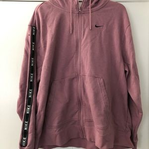 Nike Plus Zip-up Hoodie with Arm Accent - Rose